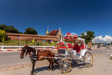 LAMPANG THAILAND-October 20:The Horse Carriage In  Lampang  At  Wat Phra That Lampang Luang Lampang Lampang Province On October 20 , 2017 In LAMPANG THAILAND.