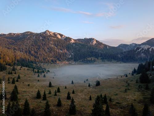 Fotografie, Obraz  Early morning mist at Veliki Lubenovac, Northern Velebit, Croatia