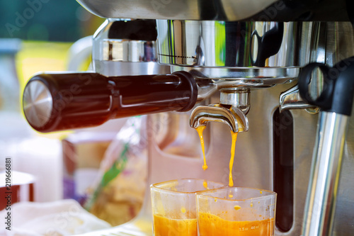 Fotografie, Obraz  Coffee. Coffee espresso. Espresso machine brewing a coffee