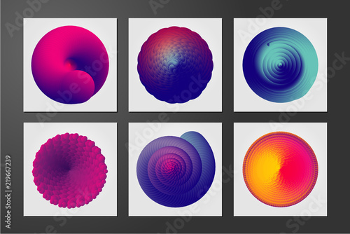 Obraz Abstract form with curl lines and vibrant color gradient. Color vortex. Minimalistic cover design template with spiral shell. - fototapety do salonu