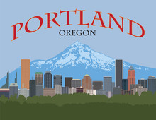 Portland Oregon Skyline With Text And Background Poster Vector Illustration