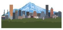 Portland Oregon Skyline Color ...