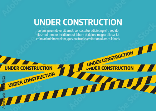 Obraz Under construction website page. Under construction tape warning banner vector - fototapety do salonu