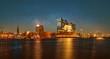canvas print picture - Hamburger Hafenpanorama mit Elbphilharmonie