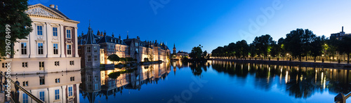 the hague netherlands evening reflections high definition panorama Canvas Print