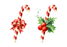 Christmas Candy Cane With Bow ...