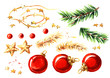 canvas print picture - Christmas decor elements set. Watercolor hand drawn illustration, isolated on white background