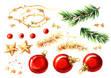 Christmas Decor Elements Set. Watercolor Hand Drawn Illustration, Isolated On White Background