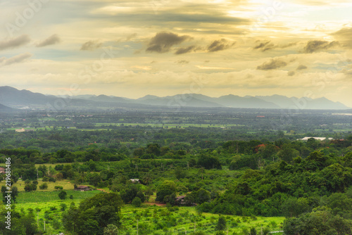 Foto op Plexiglas Landschappen Landscape of cloudy, mountain and forest with sunset in the evening from top view.