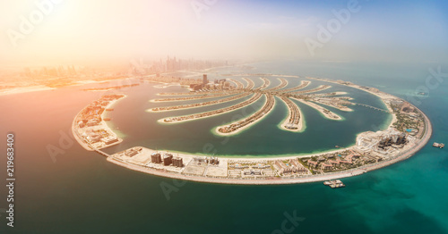 Aerial view of artificial palm island in Dubai. Wallpaper Mural