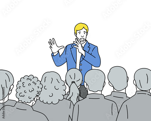 Man speaks to the audience hand drawn illustration Fototapete