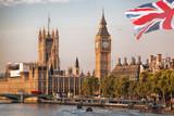 Fototapeta Londyn - Big Ben with bridge in London, England, UK