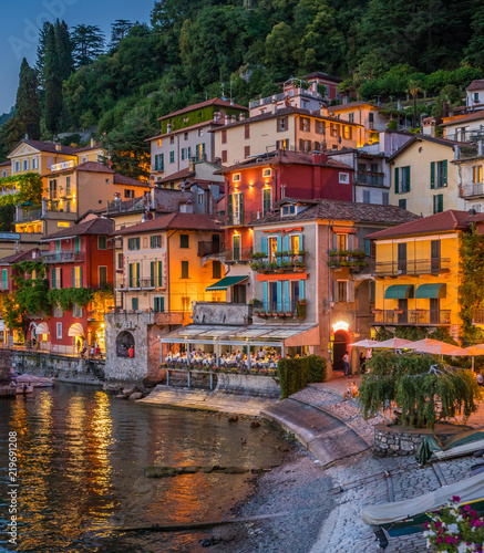 Scenic view in the beautiful Varenna in the evening, on Lake Como, Lombardy, Italy. Wall mural