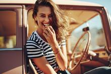 Beautiful Young Woman Laughing...