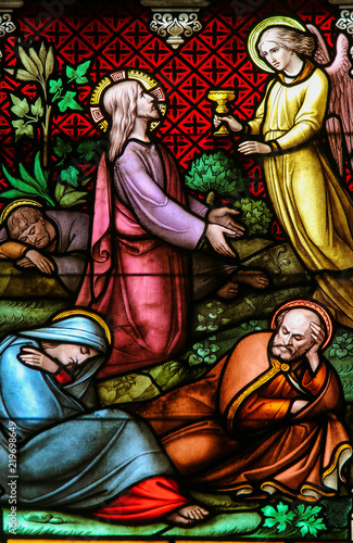 Cuadros en Lienzo Stained Glass - Jesus Christ in the Garden of Gethsemane