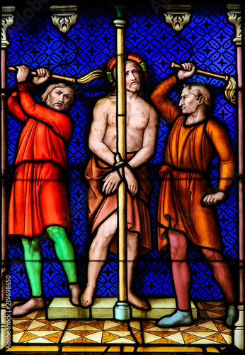 Stained Glass - Flagellation of Jesus Christ on Good Friday Fototapet