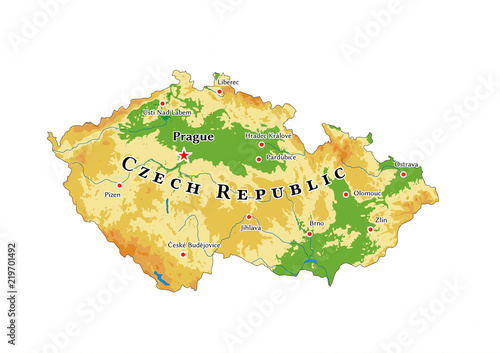 Czech Republic physical map Fototapet