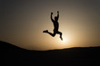 Keep moving. Silhouette man motion jump in front of sunset sky background. Daily motivation. Healthy lifestyle personal achievements goals and success. Future success depends on your efforts now