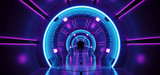 Fototapeta Perspektywa 3d - Sci-Fi Futuristic Abstract Gradient Blue Purple Pink Neon Glowing Circle Round Corridor On Reflection Concrete Floor Dark Interior Room Empty Space Spaceship Technology Concept 3D Rendering