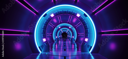 Sci-Fi Futuristic Abstract Gradient Blue Purple Pink Neon Glowing Circle Round C Canvas Print