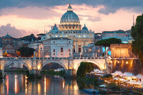 Deurstickers Rome Night view to Ponte Sant'Angelo and Vaticano in Rome, Italy
