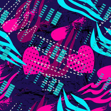 Abstract Seamless Grunge Sport Pattern For Girl And Boy. Creative Colorful Wallpaper With Stripes, Heart, Dots. Grunge Sport Urban Background For Textile, Sport Clothes. Fashion Sport Pattern Style.