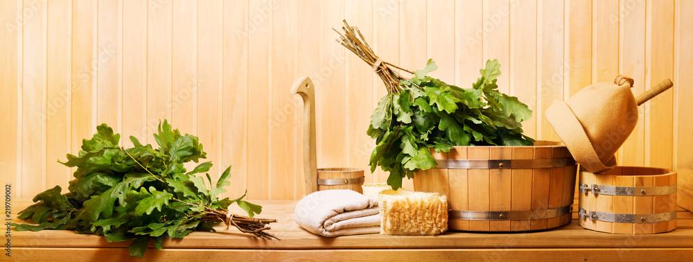 Fototapeta sauna accessories in a wooden sauna