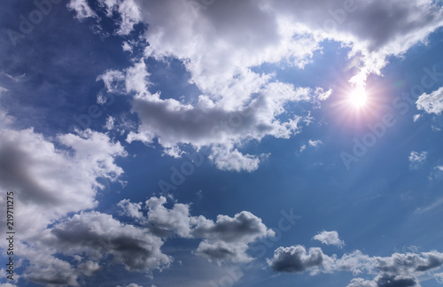 Blue sky background with clouds sunny day