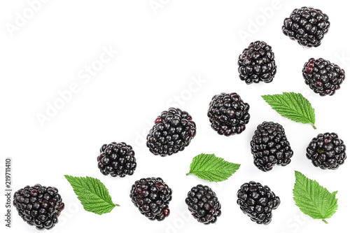 Fotografija  Fresh blackberry with leaves isolated on white background with copy space for your text