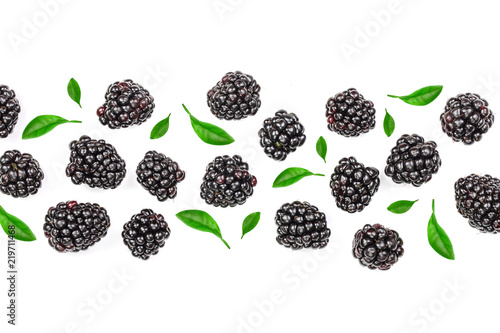 Fotografia, Obraz  Fresh blackberry with leaves isolated on white background with copy space for your text