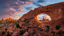 Natural Arch At Sunset, Arches National Park, Utah