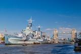 Fototapeta Londyn - Statek muzeum HMS Belfast w Londynie