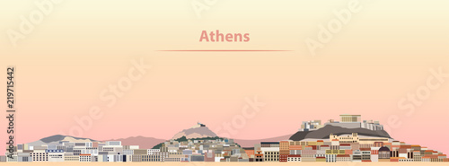 Photo vector illustration of Athens skyline at sunrise