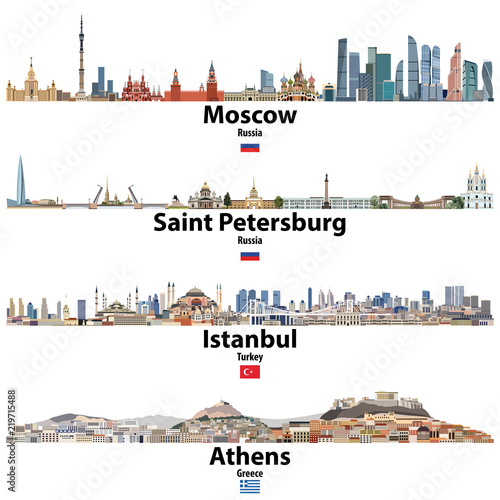 cityscapes of Moscow, Saint Petersburg, Istanbul and Athens Canvas Print