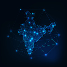 India Map Glowing Silhouette Outline Made Of Stars Lines Dots Triangles, Low Polygonal Shapes.