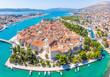Leinwanddruck Bild - Aerial view of Trogir in summer, Croatia