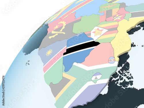 Türaufkleber Künstlich Botswana with flag on globe
