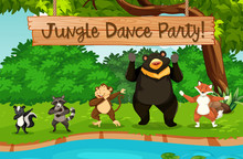 Animals And Jungle Dance Party