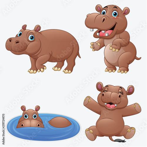 Canvas-taulu Cartoon funny hippos collection set