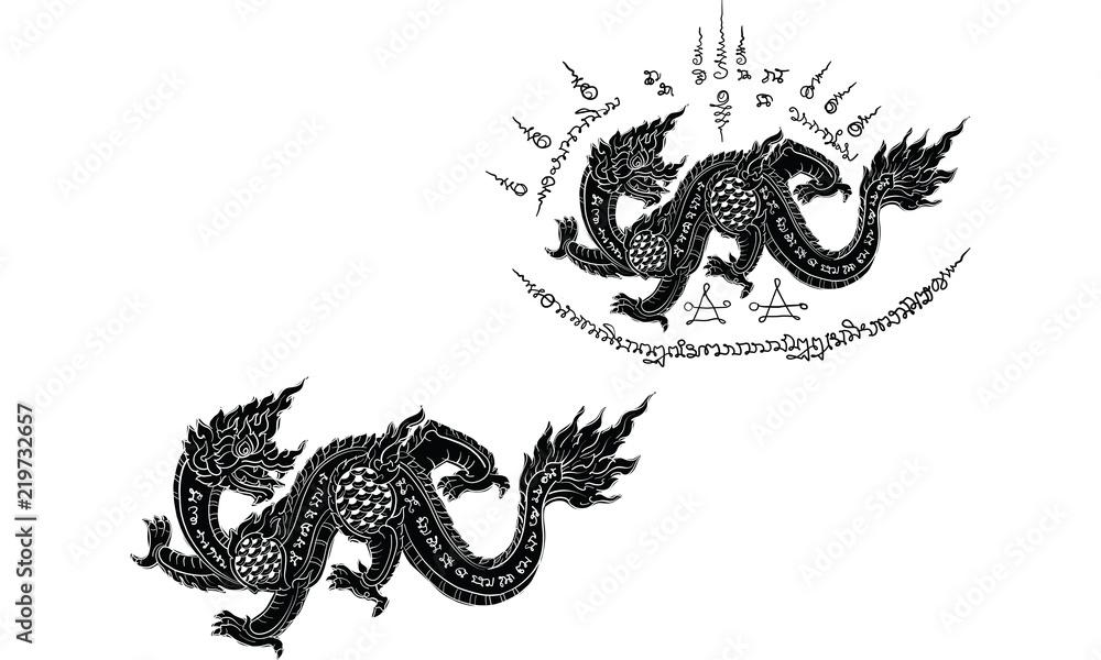 Fototapeta Thai traditional tattoo,  tiger tattoo