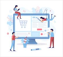 A Team Of Web Developers Design An Online Store. Teamwork Project. Flat Vector Illustration.