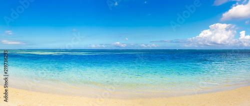 Sandy tropical beach. Beautiful landscape. Panorama.