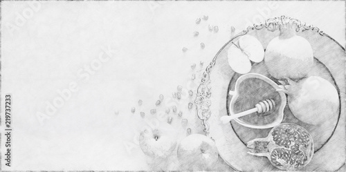 Abstract background of Rosh hashanah (jewish New Year holiday) concept. Traditional symbols. Pencil sketch painting style. Black and white.