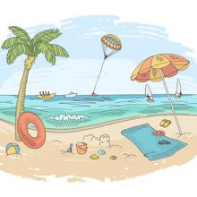 Sea Coast Beach Graphic Color Landscape Sketch Illustration Vector