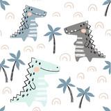 Crocodile baby seamless pattern. Dinosaur scandinavian cute print. - 219739284