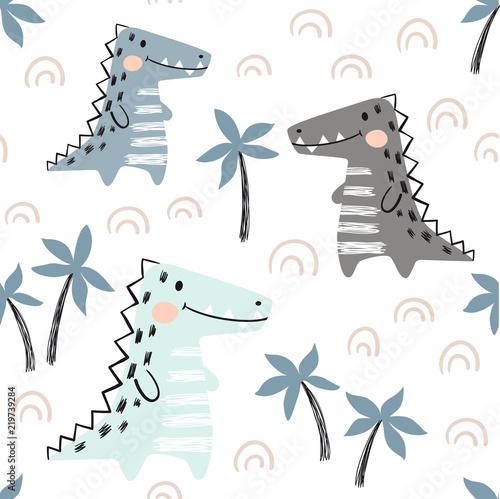 plakat Crocodile baby seamless pattern. Dinosaur scandinavian cute print.