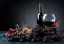 Red Wine And Grapes.
