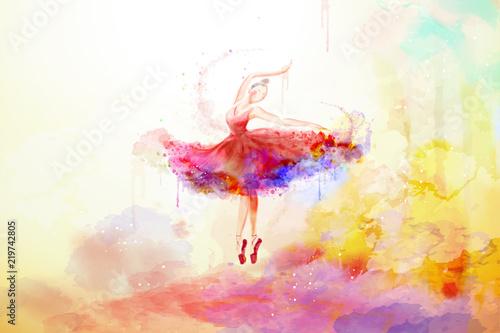 Fotografie, Tablou Elegant watercolor style ballerina