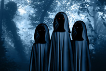 Three Spooky Monsters In Hooded Cloaks In Misty Forest