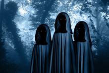 Three Spooky Monsters In Hoode...